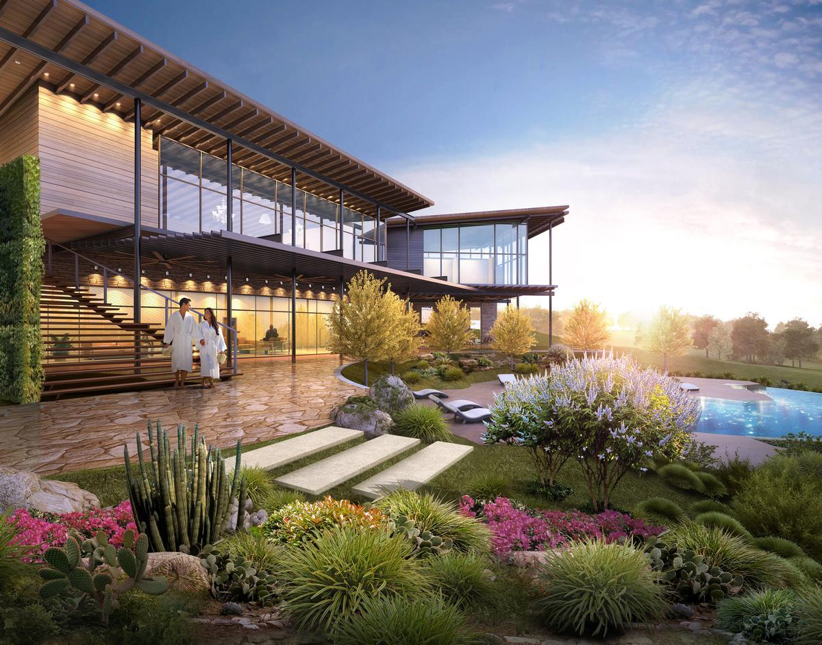Outdoor garden cabanas saline grotto pool and cowboy for Health spa retreats texas