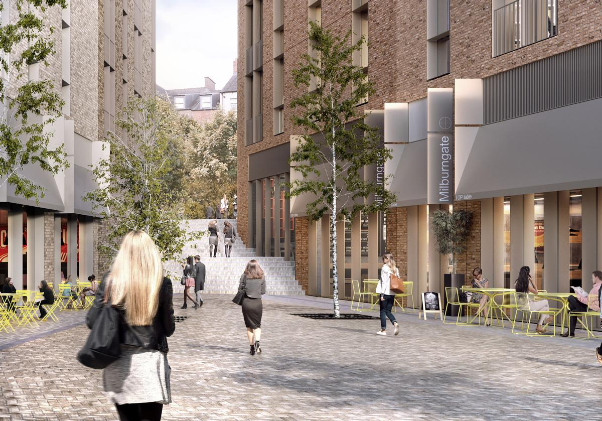 The Milburngate project phase will create shops, restaurants, a cinema, a hotel and apartments across a 2 hectare plot / FaulknerBrowns