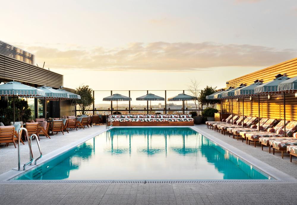 The rooftop pool has a Palm Springs vibe
