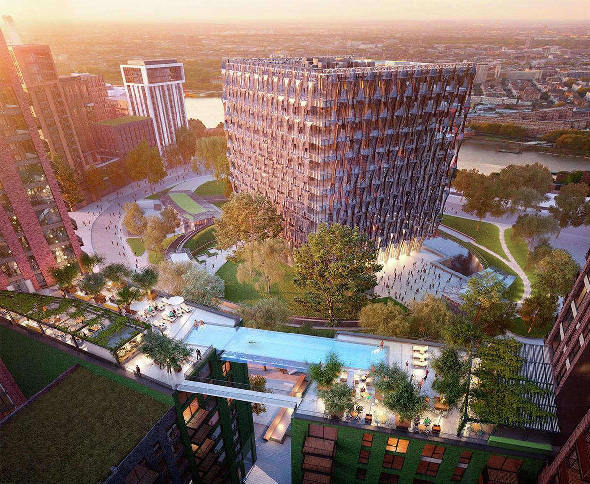 The sky pool is part of the wider regeneration of Nine Elms in London / Arup