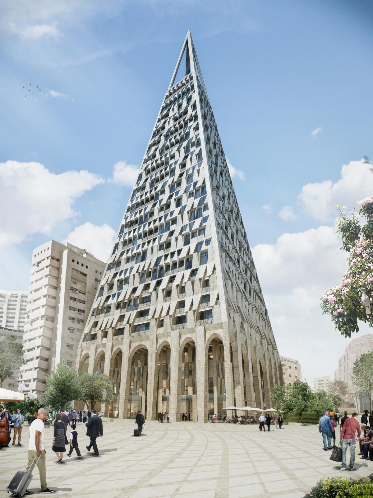 Designed in collaboration with local architect Yogal Levi, the mixed-use tower will be one of the tallest towers in the Israeli city of Jerusalem / Daniel Libeskind