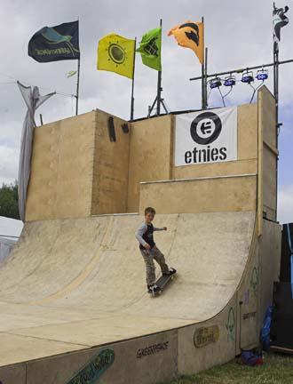 Green skateboarding at Glastonbury