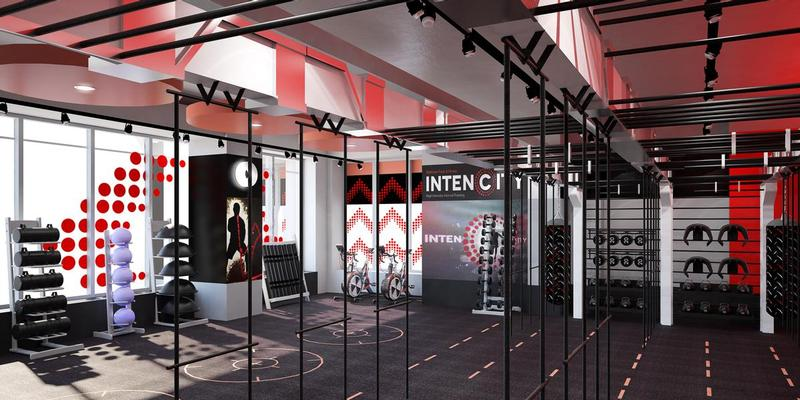 gym designers zynk complete dramatic red health club for london 39 s latest intencity studio. Black Bedroom Furniture Sets. Home Design Ideas