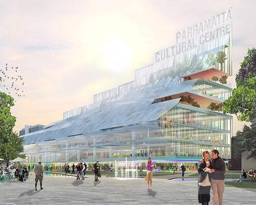 The semi-transparent building will be formed of a stack of crystalline layers arranged in a wave-like structure extending from the city's Town Hall / Parramatta City Council