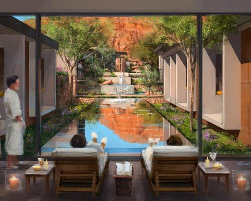 Designed by architects Allen+Philp, the Padre Canyon Sanctuary encompasses more than 14,000sq feet (1,300sq m), including six treatment rooms, pre- and post-treatment relaxation areas, an adult pool and a private lounge