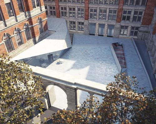 The courtyard is also expected to be completed later this year after 14,500 porcelain tiles – created in 13 different patterns in the Royal Tichelaar factory in the Netherlands – are laid / AL_A