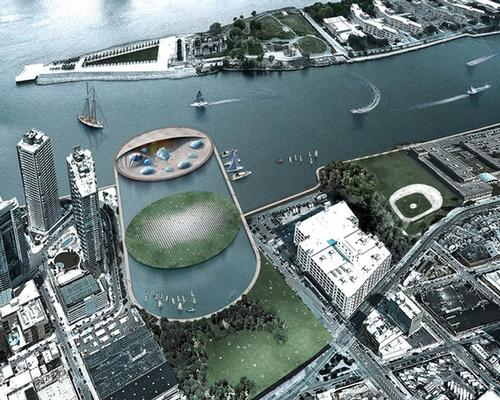 The aquarium and a marine centre would be located on a submerged two-level island situated in a large water basin on the East River / Arch Out Loud/Lissoni Associati