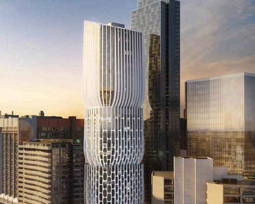 The tower, designed by Zaha Hadid Architects and Plus Architecture, is formed of scuptural vase-shaped stacks / Plus Architecture