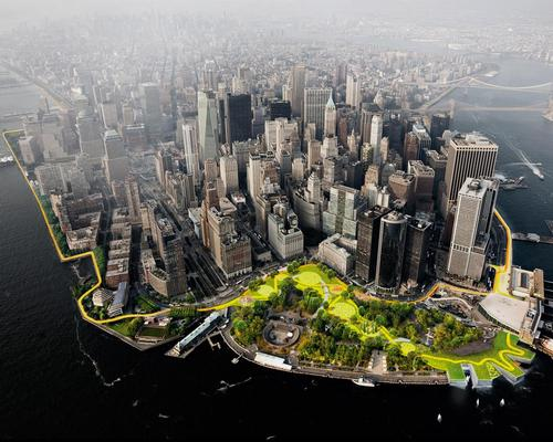 The Dryline will form a ribbon around the southern tip of Manhattan, from West 54th Street South to The Battery and up to East 40th Street / BIG/the City of New York