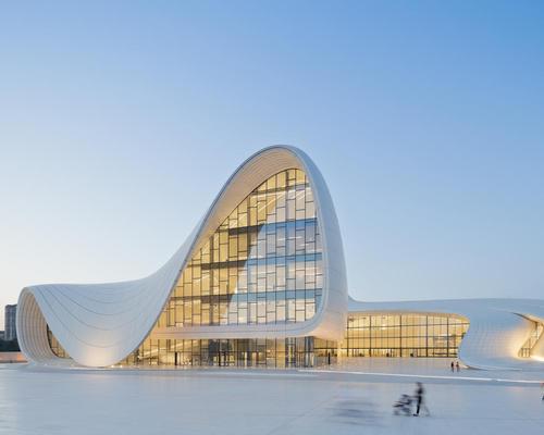 Zaha Hadid's Heydar Aliyev Centre in Baku, Azerbaijan is among the leisure buildings nominated for the RIBA International Prize / Iwan Baan