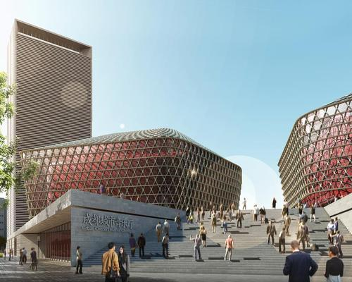 The complex will sit on top of a grey stone podium in Chengdu's music district / GMP