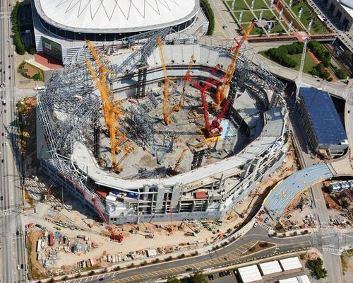Atlanta Falcons' HOK-designed facility will host the game two years after construction is complete / Mercedes Benz Stadium