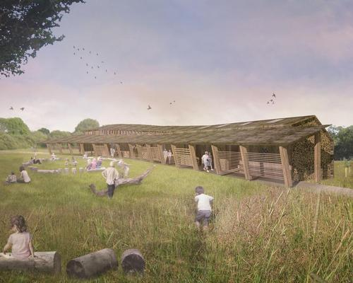 Mark Wray's vision is inspired by fallen trees, which play a vital role in the woodland ecosystem as rich microhabitats for insects, birds, fungi and lichens / Mark Wray Architects