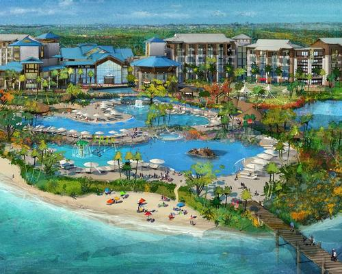 The resort will feature a 175-room Margaritaville hotel, 1,000 Margaritaville-themed vacation homes, a 12-acre waterpark, a wellness centre and wooded fitness trails / The McBride Company