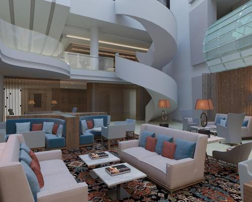 The hotel combines natural stone and wood textures, with patterns and elements that reflect Armenian culture