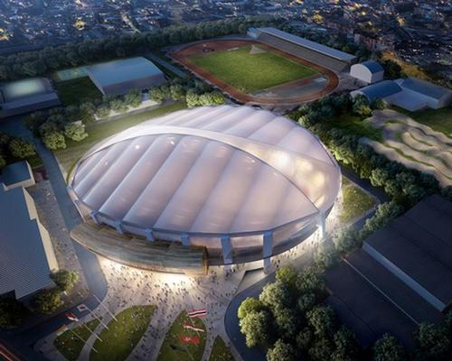 The Jakarta Velodrome will have a membrane roof allowing natural daylight into the building, and making the venue glow in the evenings / Cox Architecture