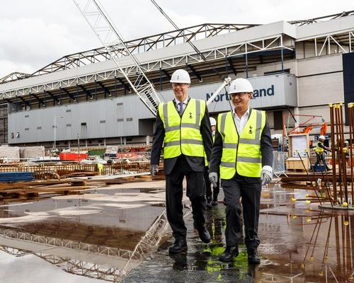 Waller (left) and Levy (right) tour the site, which is next to the club's current White Hart Lane ground
