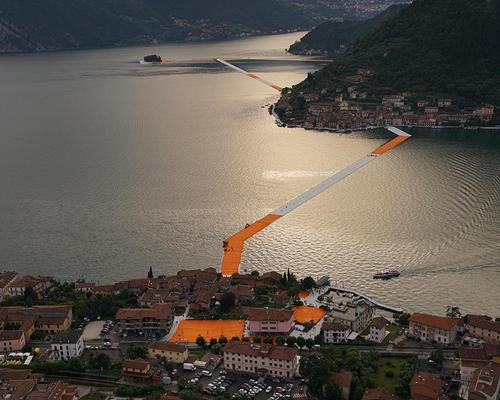 The 3km-long installation stretches from the commune of Sulzano to the island of San Paolo