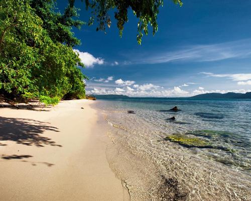 The private beach at Six Senses Krabey Island