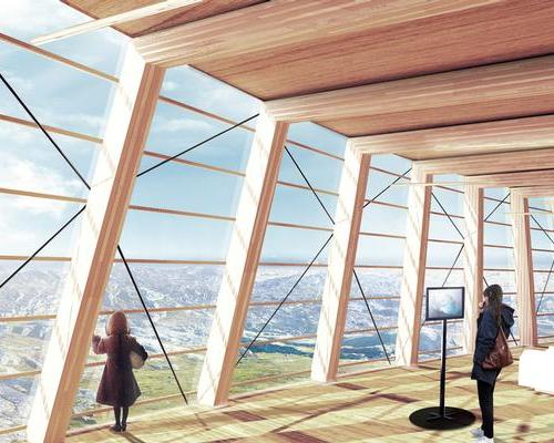 The interior spaces include many stunning view points of the sea mouth and glacier / MIR
