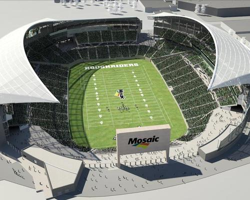 The stadium has been designed by HKS Architects / The University of Regina Rams
