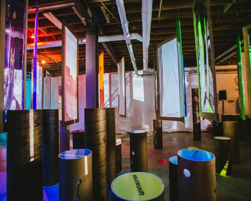 A gutted Toronto storefront was filled with modular cardboard installations, illuminated panel sliders and a forest of movable 12ft tubes / RAW Design