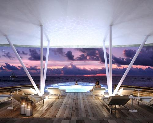 The hydrotherapy pool, named The Blue Hole pool, will accommodate up to 12 guests, and looks out on the Indian Ocean
