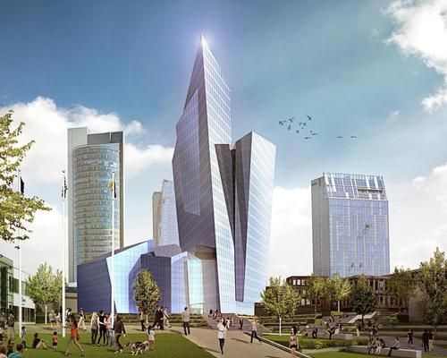 The bold, sculptural design of the building – called The Downtown Tower-k18B –is designed to reflect the light, sky and surroundings / Studio Libeskind