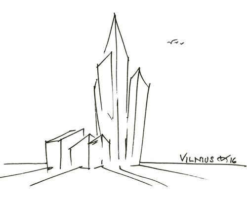 The complex is formed of an 18-storey tower sat atop a six-storey podium / Studio Libeskind