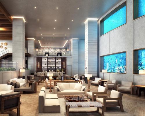 The hotel's 280,000-gallon aquarium will be renovated as part of the project / Rockwell Group