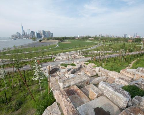 Reclaimed granite blocks from the Island's former seawall allow visitors to scramble up Outlook Hill  / Timothy Schenck
