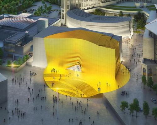 A golden 'sunbeam' can be seen by passengers flying into nearby Incheon Airport / MVRDV