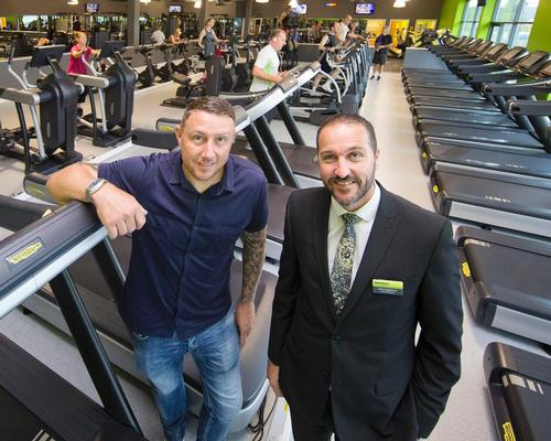 Rotherham United goalkeeper and Bannatyne club member Paddy Kenny (left) with Mark Hodgkinson, general manager on the new gym floor