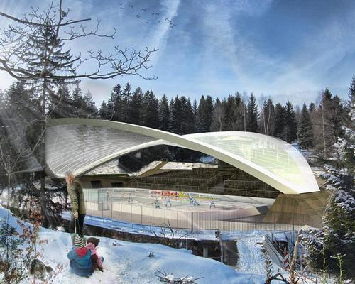 The rink's 2,400sq m (26,000sq ft) steel roof will be anchored at just two points  / GRAFT