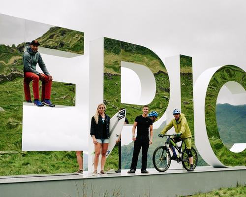 The four-metre-high letters reflect their 'EPIC' surroundings