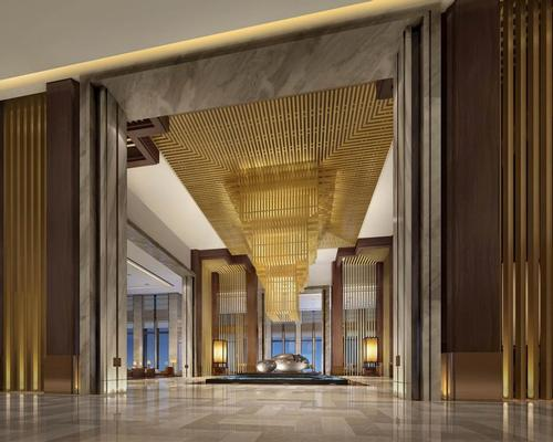 The hotel honours the prosperous Tang Dynasty by connecting the old city to the new city through design, including pitched ceilings and a sprawling layout built around a grand lobby