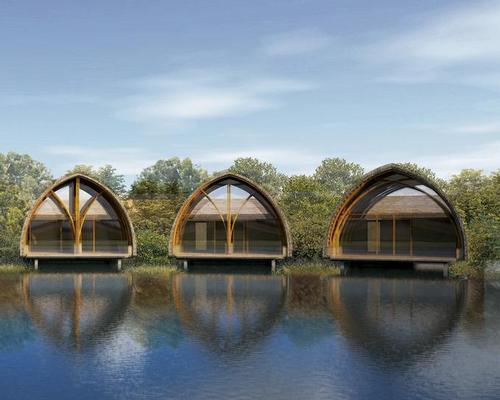 A series of bamboo podiums will house the spa's public areas and some consultation rooms / Vo Trong Nghia Architects