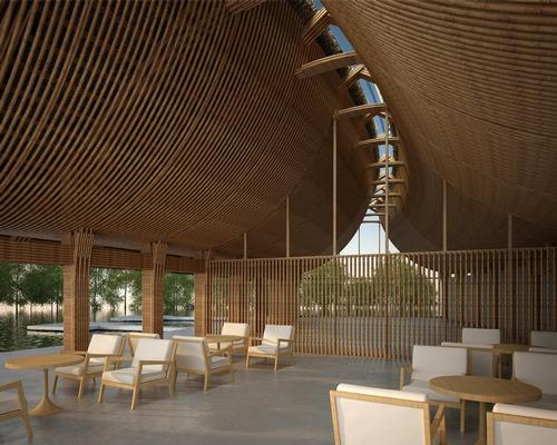Each bamboo podium will resemble hands clasped together and fingers interwoven, with a skylight where the frames meet / Vo Trong Nghia Architects