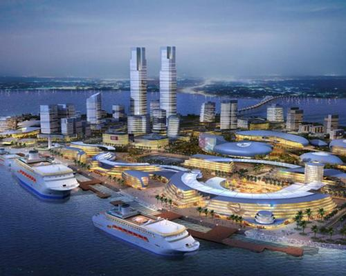 The island is being developed as a leisure zone with hotels, resorts, a theme park, a yacht harbour and a cruise ship port / Haikou Urban Planning Bureau