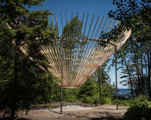 Cyclops is a giant inverted cone formed of tapering timber planks  / International Garden Festival