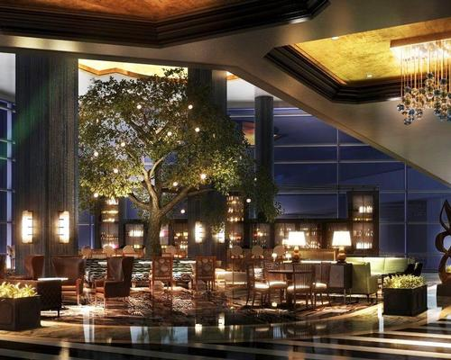 Warren Sheets Design have designed the interiors of the 37-storey hotel, which will include two 24ft (7m) high Heritage Oak trees and a geometric topiary garden / Fairmont