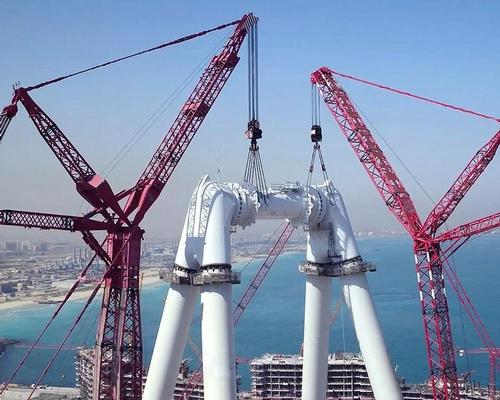 Two of the world's largest cranes have assembled the key components of the wheel, which will be called Ain Dubai / Meraas
