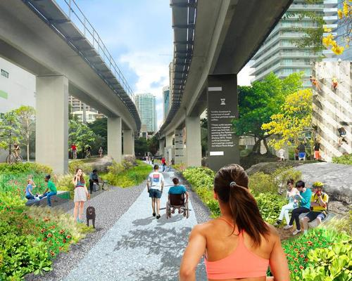 Picnic areas, native vegetation, a nature-inspired playground, a dog park, a basketball court and art installations will be added to Brickell Underline Park / Friends of the Miami Underline