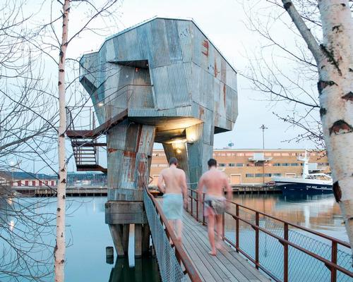 The Gothenburg Public Sauna by Raumlabor, which is made from recycled materials, will feature in the exhibition