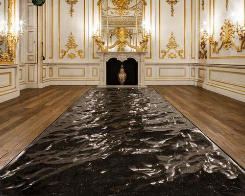 The piece, called Liquid Marble, evokes a surreal vision of the sea by using 3D movie-making software to reproduce the visual effect of the water's surface on a piece of hand-polished black marble / V&A