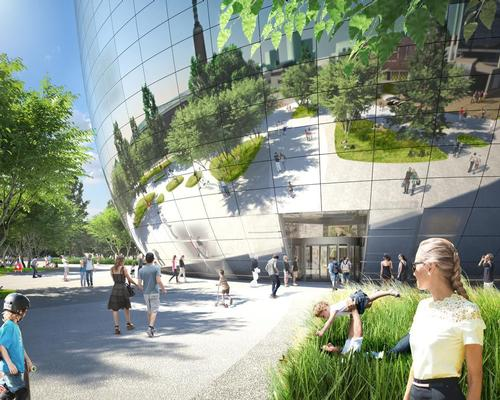Their design features a mirrored facade that will see the building 'dissolve' into the park / MVRDV