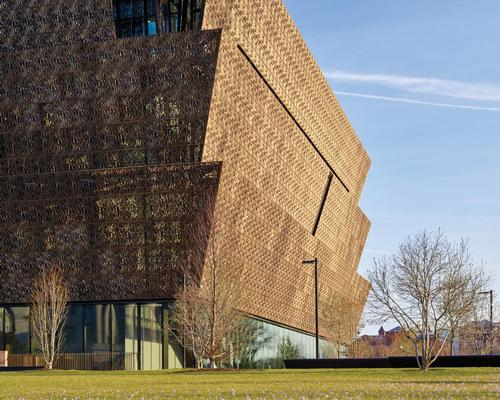 Three inverted pyramids, inspired by the form of a Yoruba sculpture and echoing the angle of the Washington Monument, sit on top of each other / Alan Karchmer/NMAAHC