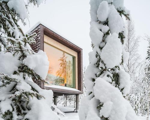 Rooms at Arctic TreeHouse Hotel boast panoramic floor-to-ceiling windows for viewing the Northern Lights