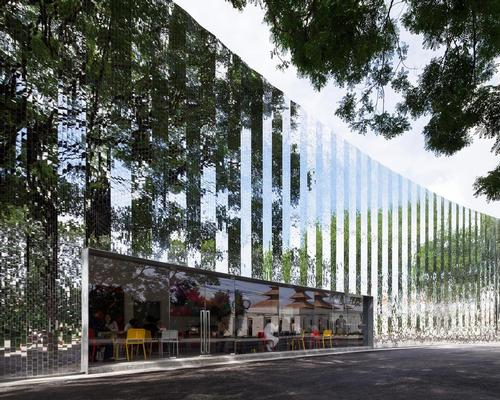 The exterior of the newly-opened MAIIAM Museum of Contemporary Art is clad with thousands of small mirrored tiles / MAIIAM Museum of Contemporary Art