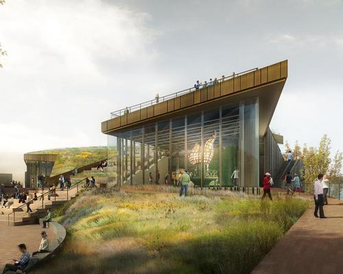 The building's angular forms and spaces are shaped by its views and the irregularity of the water's edge